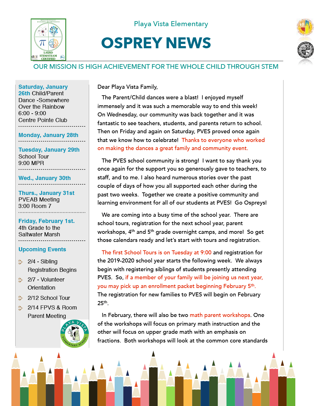 PVES Newsletter January 26, 2019 – Playa Vista Elementary School
